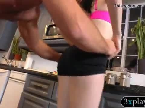 Luscious lady gets banged in the kitchen